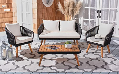 Safavieh PAT7074B Outdoor Ransin Rope 4-Piece Seat Cushions and Pillows Included Patio Set