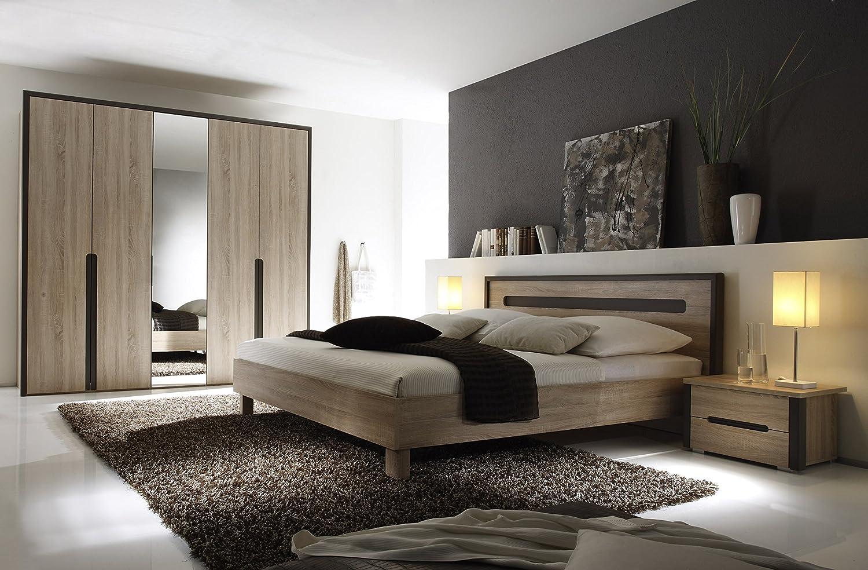 Schlafzimmer mit Bett 180 x 200 cm Eiche Sonoma/ braun lava günstig ...