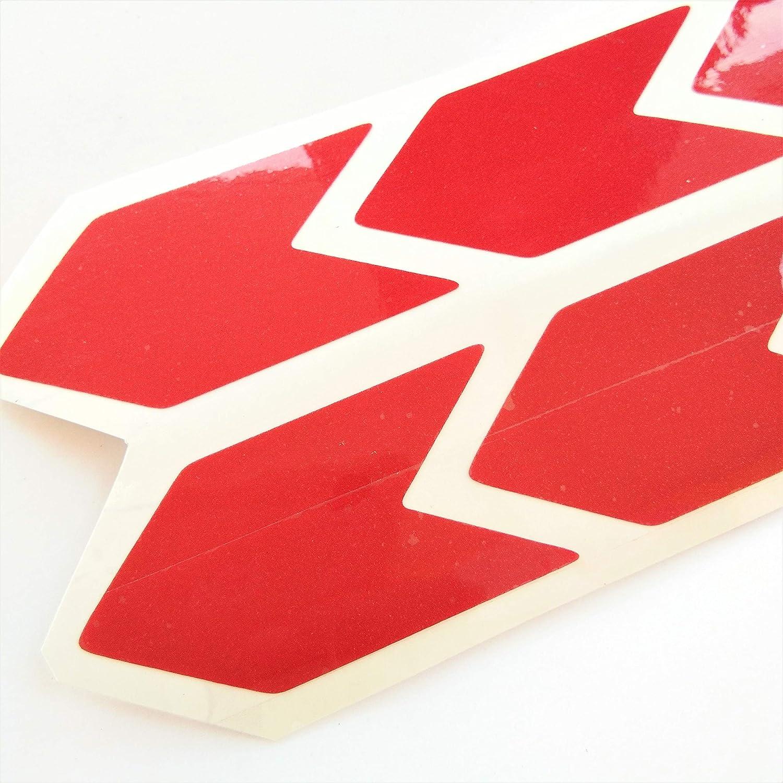 Chevron Red Reflective Sticker Decal Arrow 8x 3M High Quality 25x50 mm Sign With Flash Night PVC Vinyl Sport Motorbike Helmet Motorcycle Bike Racing Car Badge Door Window Tailgate Truck Trunk Side Rear Emblem