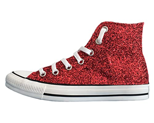 Converse All Star glitter rosse e borchie 202