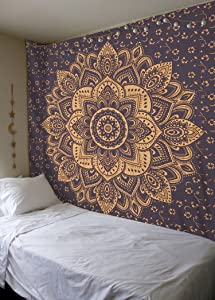 Madhu International Cotton Mandala Tapestry Psychedelic Floral Medallion Hippie Dorm Tapestries - Bohemian Wall Hanging For Living Room Home Décor, Beach Throw Queen Size (84x90 Inches, Grey Gold)