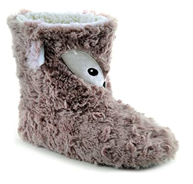 Ladies Novelty Fox Boot Slippers Size 7 / 8 Girls Gift Bootee Bootie