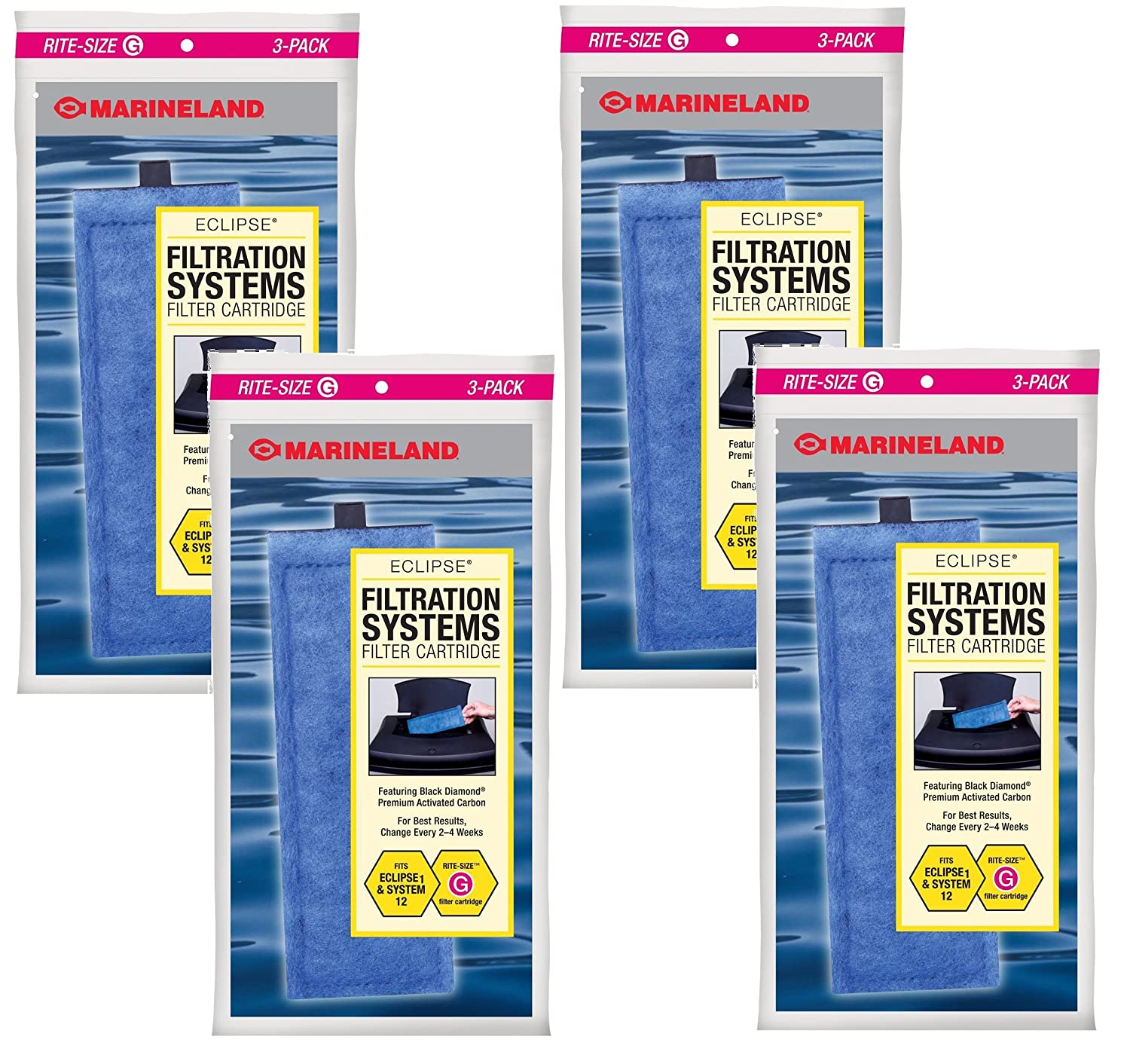 Marineland Rite-Size Cartridges G12 Total Cartridges (4 Packs with 3 per Pack)