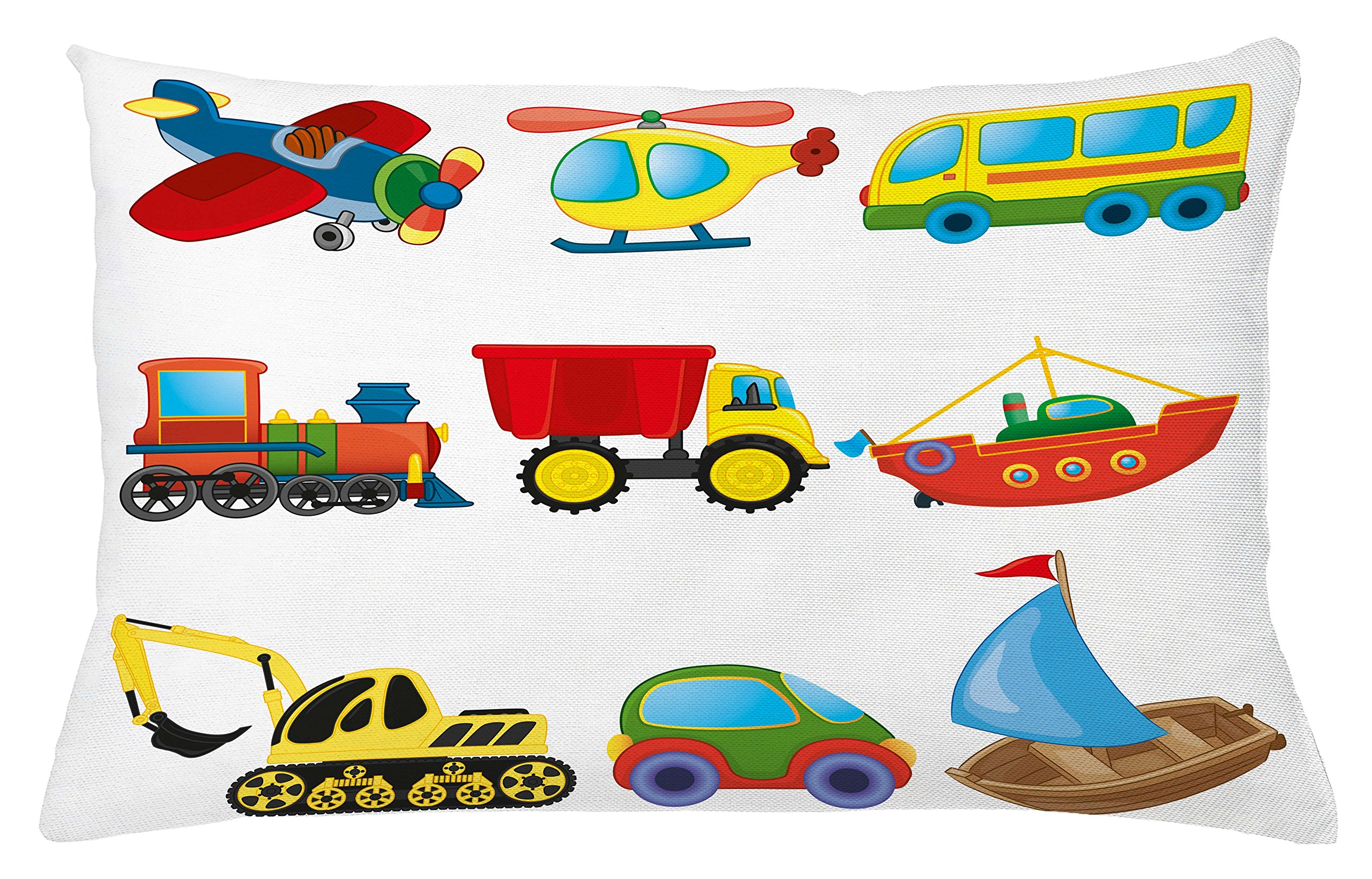 Lunarable Boy's Room Throw Pillow Cushion Cover, Caricature Transportation Theme with Truck Train Cranes Yacht Chopper Ship Print, Decorative Accent Pillow Case, 26 W X 16 L inches, Multicolor