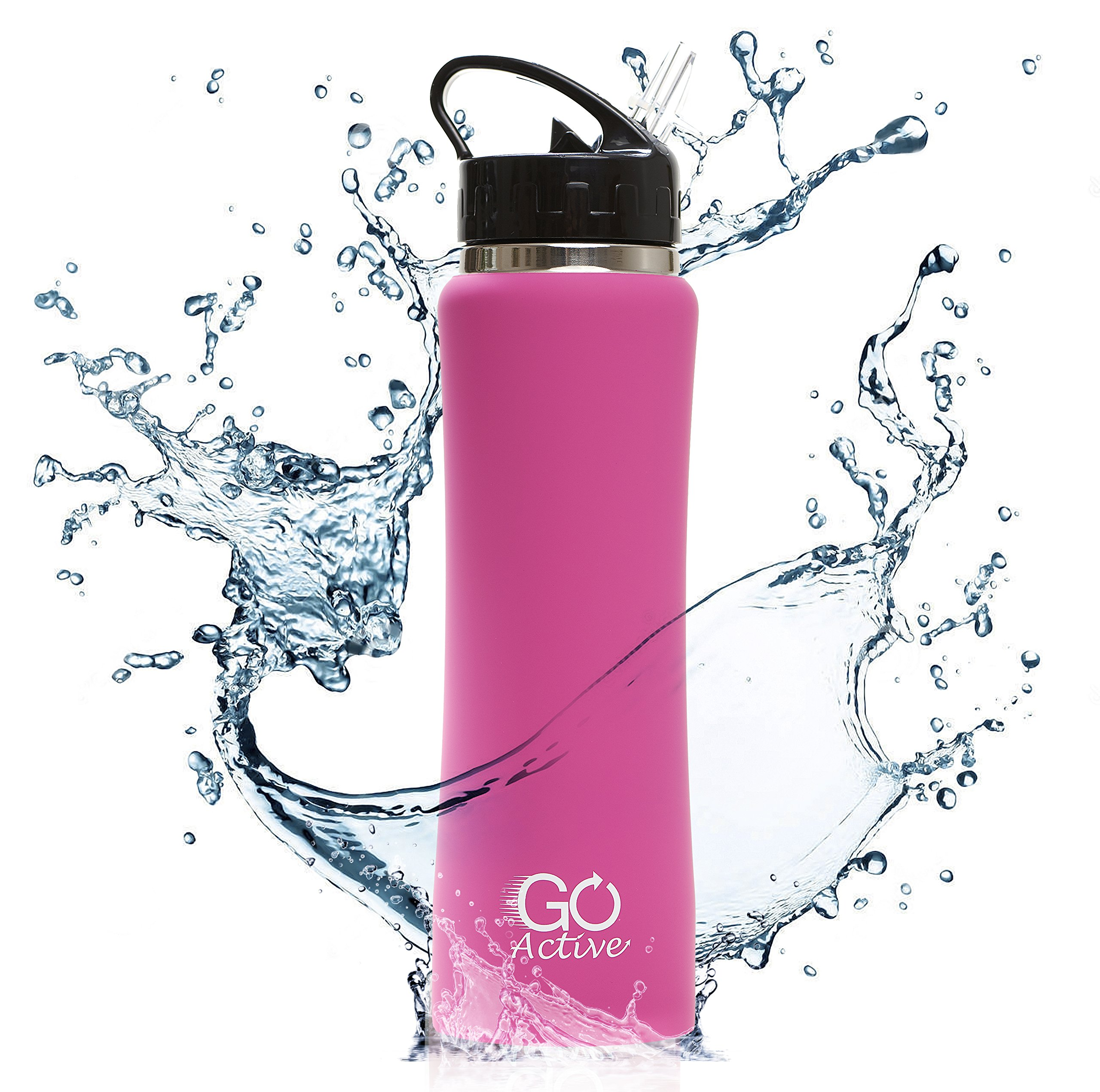 GO Active Insulated Water Bottle Straw. Stainless Steel Double Wall Sport Bottle Featuring ActiveLock Thermal Vacuum Keeps ice Over 24 Hours! Durable, Portable (ActiveGrip Pink, 24 oz)
