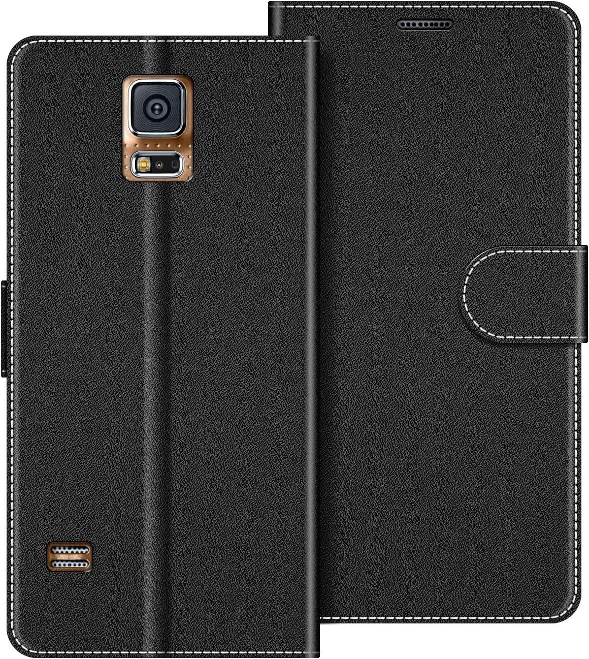 COODIO Funda Samsung Galaxy S5 con Tapa, Funda Movil Samsung S5, Funda Libro Galaxy S5 Carcasa Magnético Funda para Samsung Galaxy S5 / S5 Neo, Negro