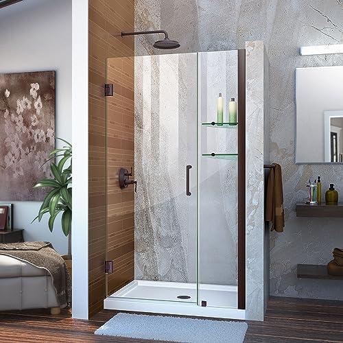 DreamLine Unidoor 40-41 in. W x 72 in. H Frameless Hinged Shower Door with Shelves in Oil Rubbed Bronze, SHDR-20407210S-06