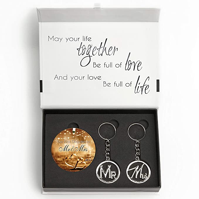Wedding Gift Set - Elegant Our First Christmas Ornament 2019 with Mr and Mrs Metal Keychains - Includes designer keepsake box and gift tag - Perfect ...
