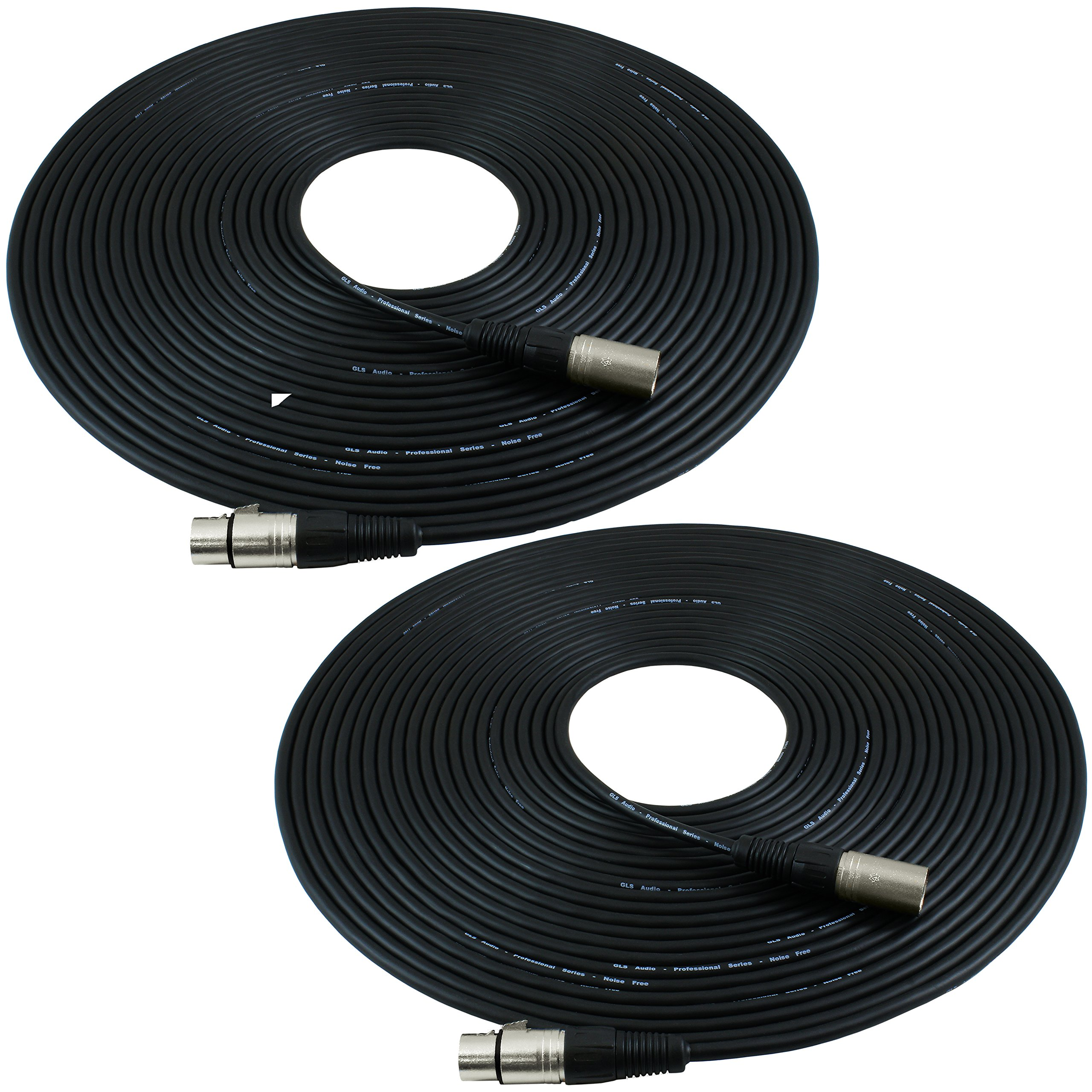 GLS Audio 50ft Mic Cable Patch Cords - XLR Male to XLR Female Black Microphone Cables - 50' Balanced Mike Snake Cord - 2 PACK by GLS Audio