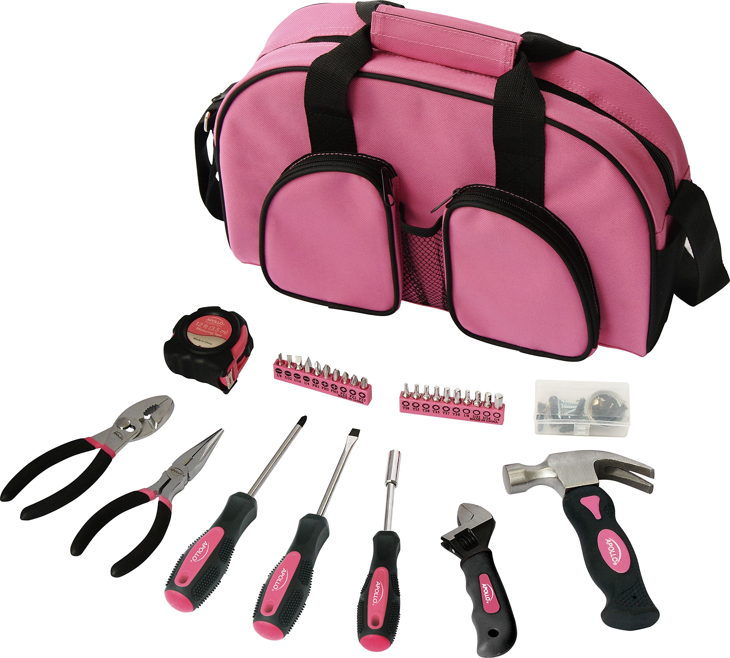 Apollo Precision Tools DT0423P 69-Piece Household Tool Kit, Pink, Donation Made to Breast Cancer Research by Apollo Tools