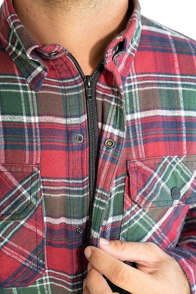 BRUBAKER Camisa de protección para Moto - Forro Interior Aramida y Bolsillos para Protectores - Estilo Lumberjack - Cuadros Escoceses Verde-Rojo - L: Amazon.es: Ropa y accesorios