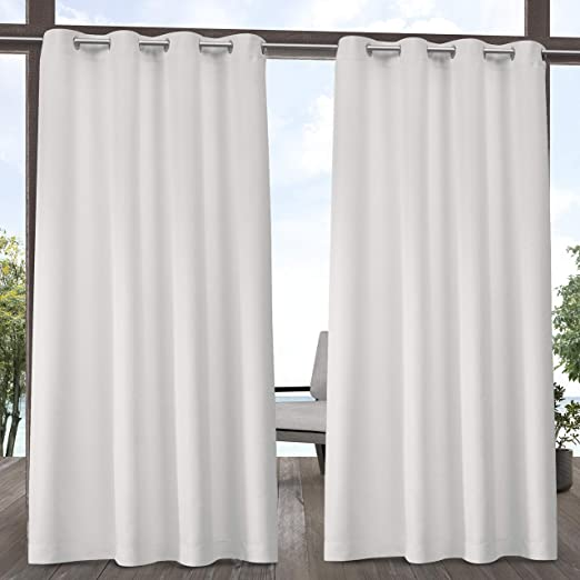 Pair of Outdoor Curtains Stainless Steel Eyelets Knitted Privacy Shade Balcony