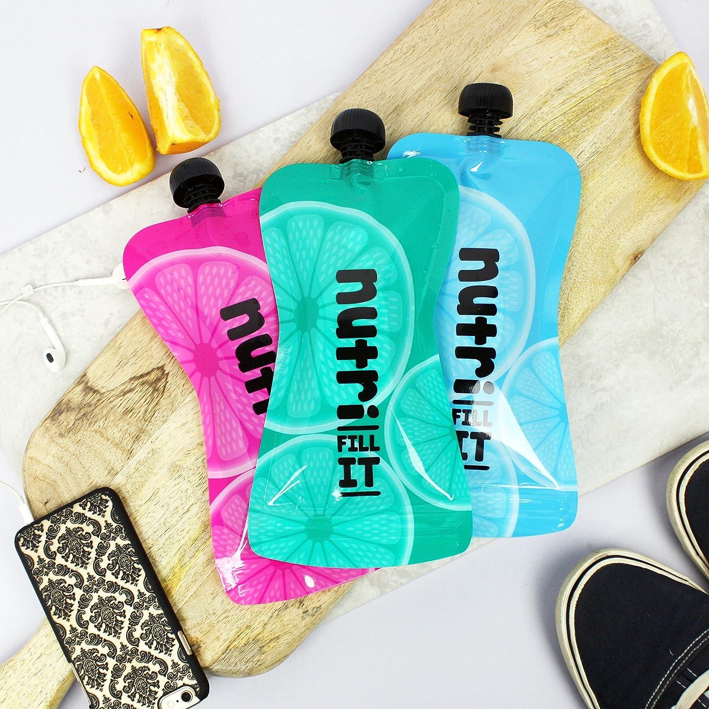 Nutri Fill-it Accessoire id/éale pour notre Nutri Bullet Lot de 6 grandes poches /à smoothie pour adultes et enfants