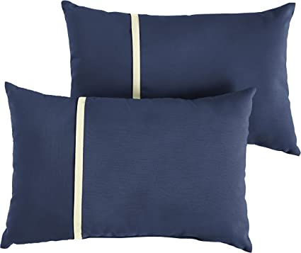 Amazon Com Mozaic Company Amps113655 Indoor Outdoor Sunbrella Lumbar Pillows Set Of 2 12 X 18 Canvas Navy Blue Canvas Natural Ivory Garden Outdoor