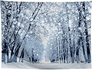 Allenjoy 10x8ft Winter Forest Backdrop Beautiful Nature Snowy Wonderland Scenery Landscape Photography Background for Kids Family Christmas Bokeh Outdoor Party Decor Banner Portrait Photo Booth Props