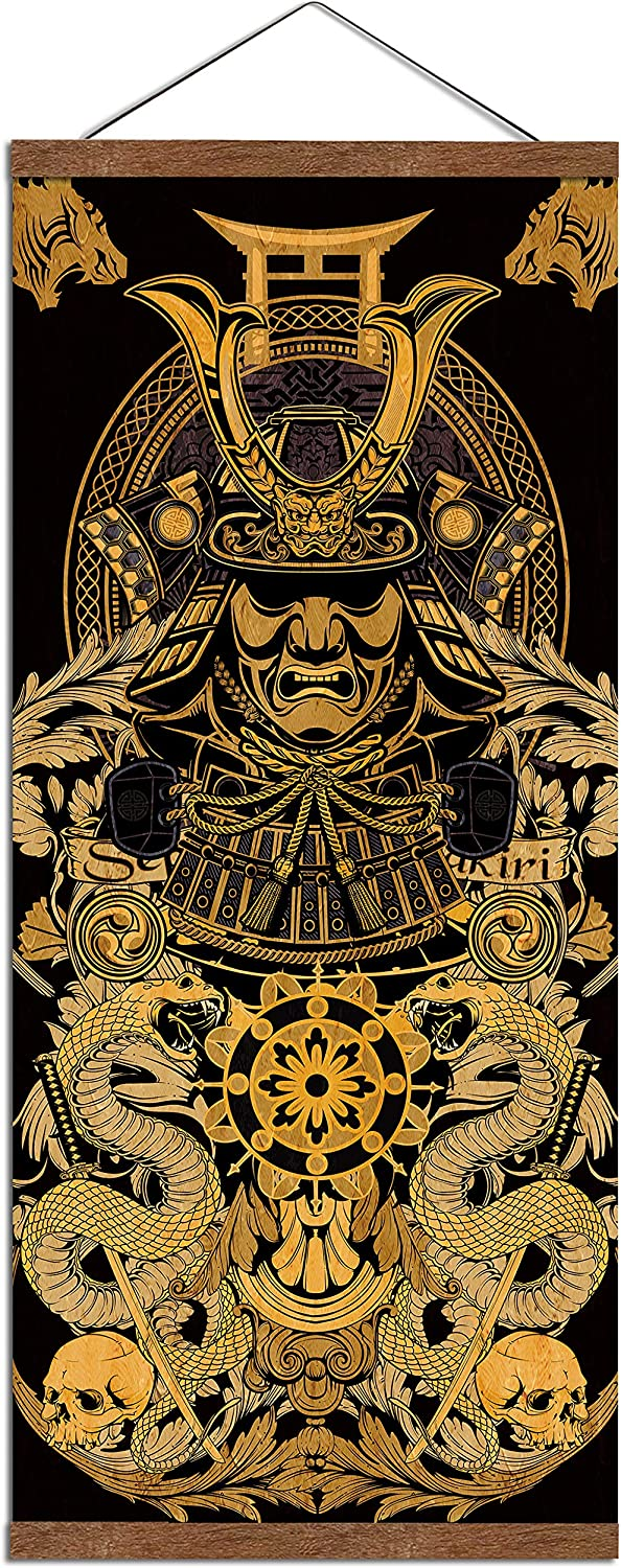 "WEROUTE Warrior's Dreams Canvas Wall Art Print Poster Armored Helmet Samurai Spirit with Scroll Wood Framed Ready to Hanger Home Karate Hall Sushi Restaurant Decor 16""x35"""