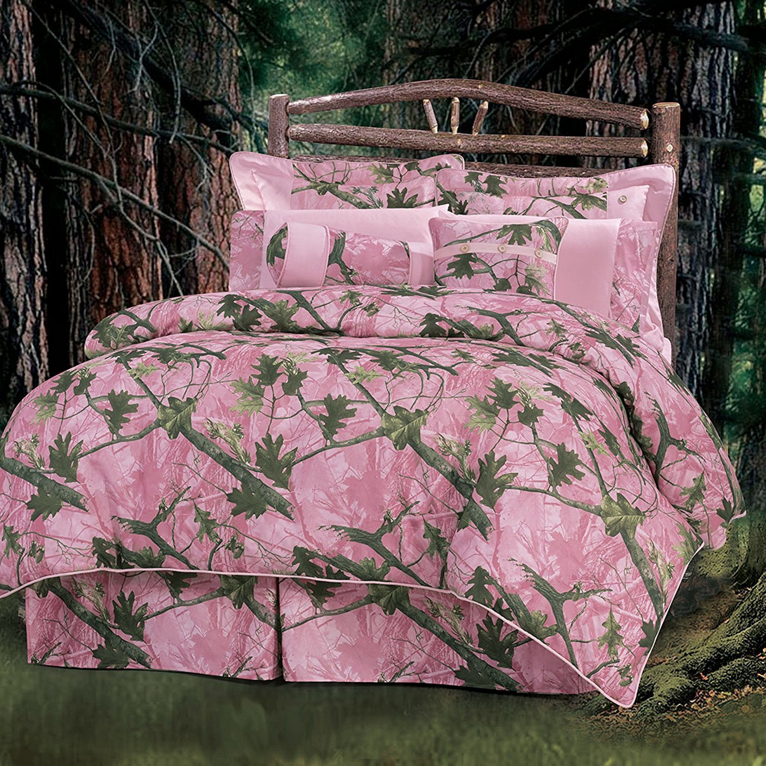 OSD 7pc Girls Pink Camo King Comforter Set, Polyester, Hunting Themed Bedding Camouflage Woods Leaves Branches Forest Lodge Southwest Outdoors Country Hunt Pattern