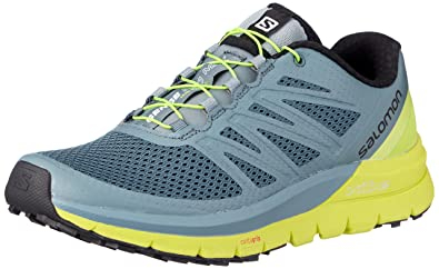 c2441c586625 Salomon Men s Sense Pro Max Running Trail Shoes Stormy Weather Acid Lime  Black 7
