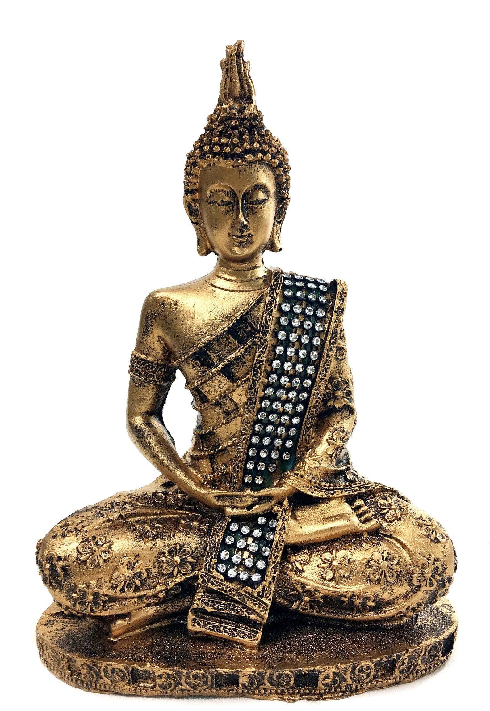 bombayjewel Thai Buddha Meditating Peace Harmony Statue, 8''H by bombayjewel