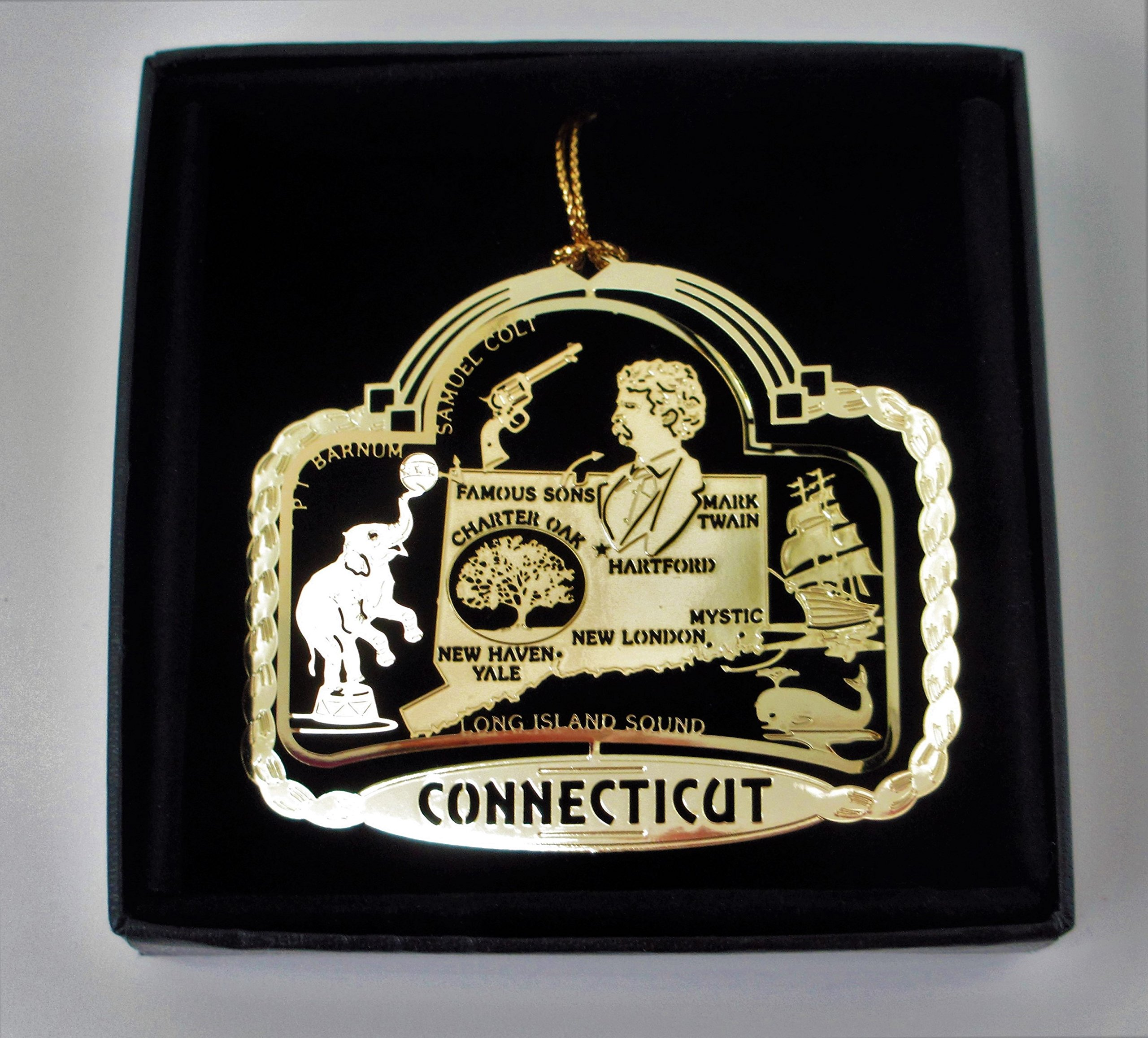Connecticut State Brass Ornament Black Leatherette Gift Box