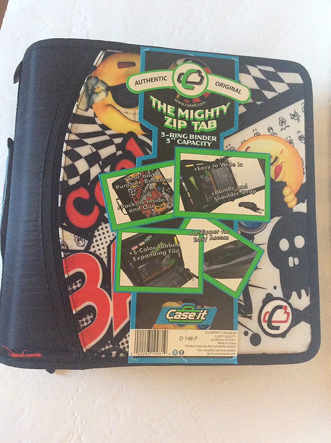 """Black and white Case-it The Mighty Zip Tab 3-Ring 3/"""" Chevron Zipper Binder D-148-P"""