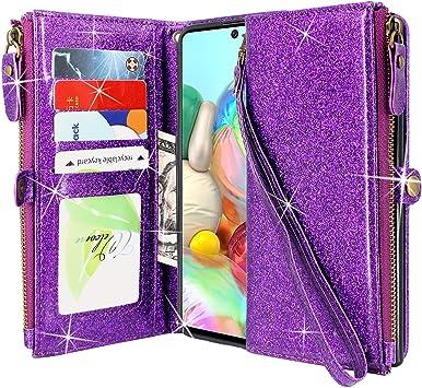 CMID Funda Galaxy A71, Carcasa PU Cuero Libro Cremallera Billetera Tapa con Soporte, Ranura para Tarjetas, Correa de Mano para Samsung Galaxy A71 (Cremallera Brillo Púrpura): Amazon.es: Electrónica