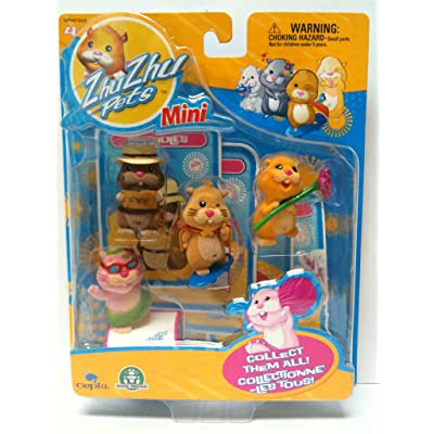 Zhu Zhu Pets Mini Figure 4Pack Scoodles, Mr. Squiggles, Nugget Jilly: Toys & Games [5Bkhe0401477]