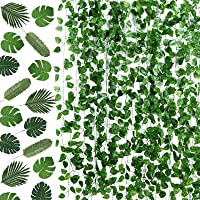 PP OPOUNT 78 Feet 12 Strands Artificial Ivy Leaf Plants Vine Garland and 24 Pieces Artificial Palm Leaves for Home Wall…