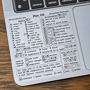 """SYNERLOGIC Mac OS (Big Sur/Catalina/Mojave) Keyboard Shortcuts, Clear Vinyl Sticker, No-Residue Adhesive, Size 3.25""""x 3.25"""", Compatible with Any MacBook Air Pro with M1 or Intel CPU"""