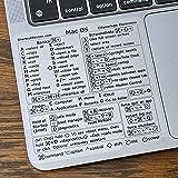 "SYNERLOGIC Mac OS (Big Sur/Catalina/Mojave) Keyboard Shortcuts, Clear Vinyl Sticker, No-Residue Adhesive, Size 3.25""x 3.25"","