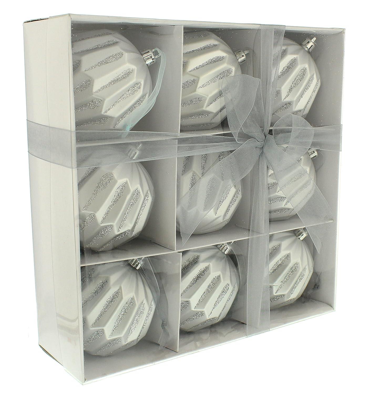 Festive Productions Geometrische B/älle in Einer wei/ß Papier Box Silber