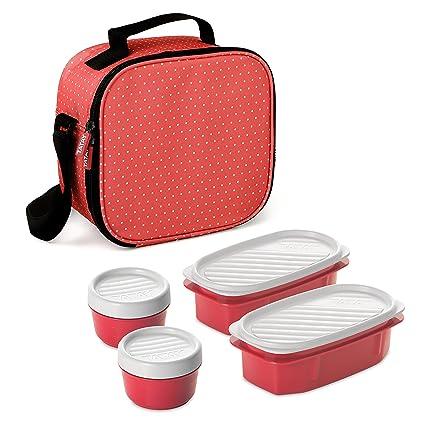 TATAY 1167507 - Urban Food Casual Dots - Bolsa térmica porta alimentos con 4 tapers herméticos a conjunto incluidos, 3 litros de capacidad, Color Rojo ...