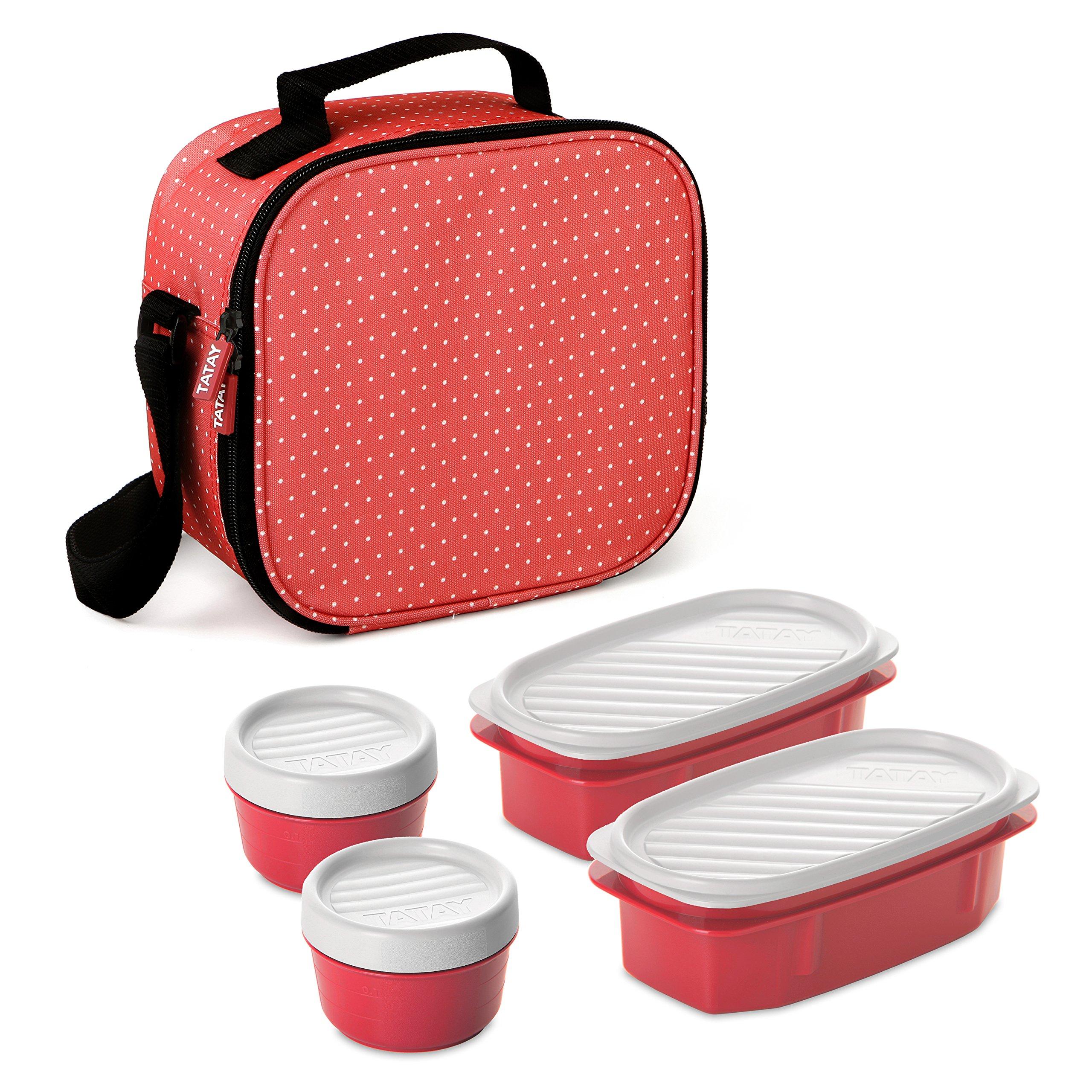 TATAY Urban Food Dots - Bolsa térmica porta alimentos con fiambreras incluidas, color rojo fresa