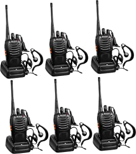 Arcshell Rechargeable Long Range Two-way Radios With Earpiece 6 Pack Uhf 400-470mhz Walkie Talkies