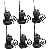 Arcshell Rechargeable Long Range Two-Way Radios with Earpiece 6 Pack UHF 400.025-469.975Mhz Walkie Talkies Li-ion Battery and
