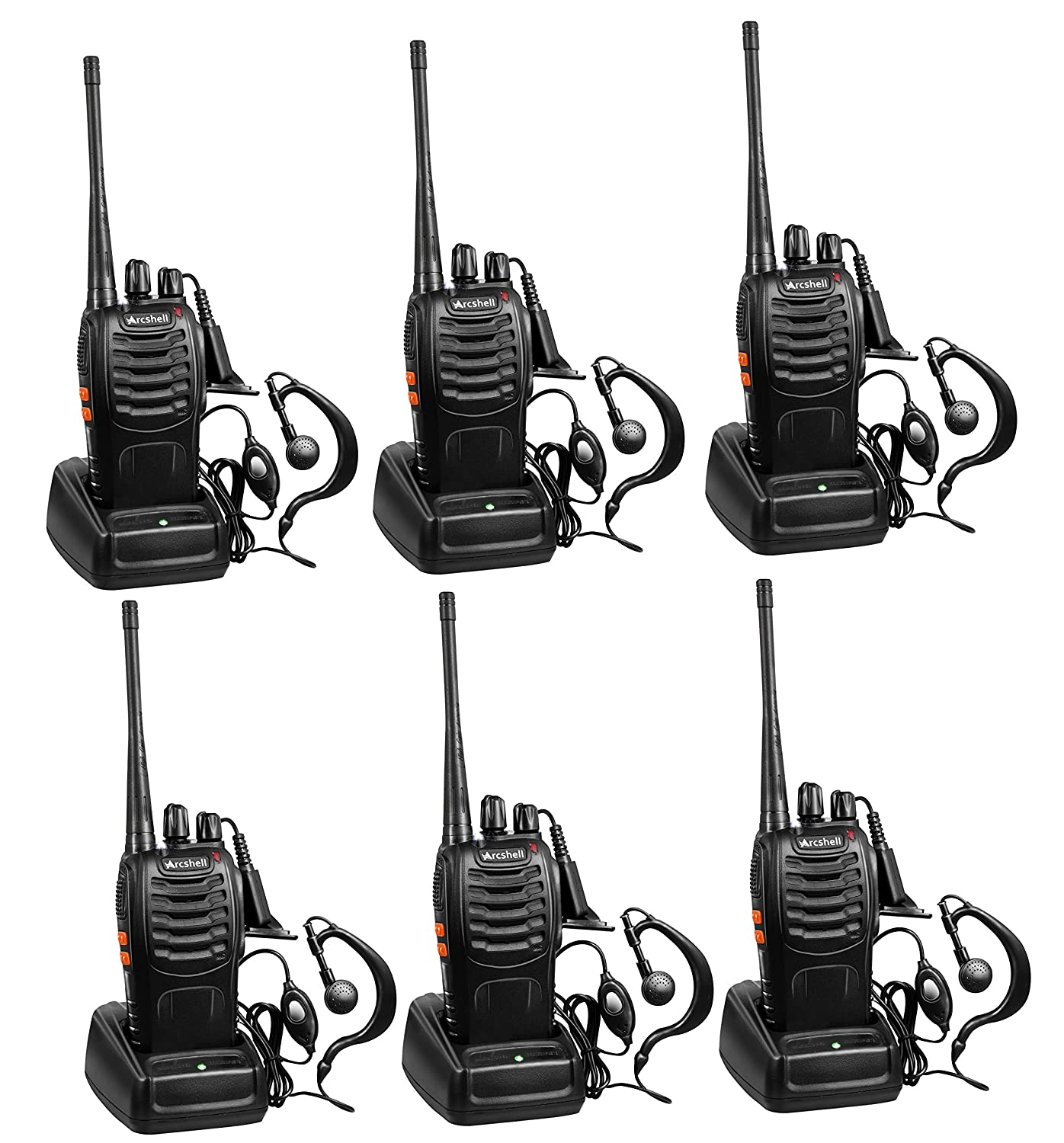 Arcshell Rechargeable Long Range Two-Way Radios with Earpiece 6 Pack UHF 400-470Mhz Walkie Talkies Li-ion Battery and Charger Included