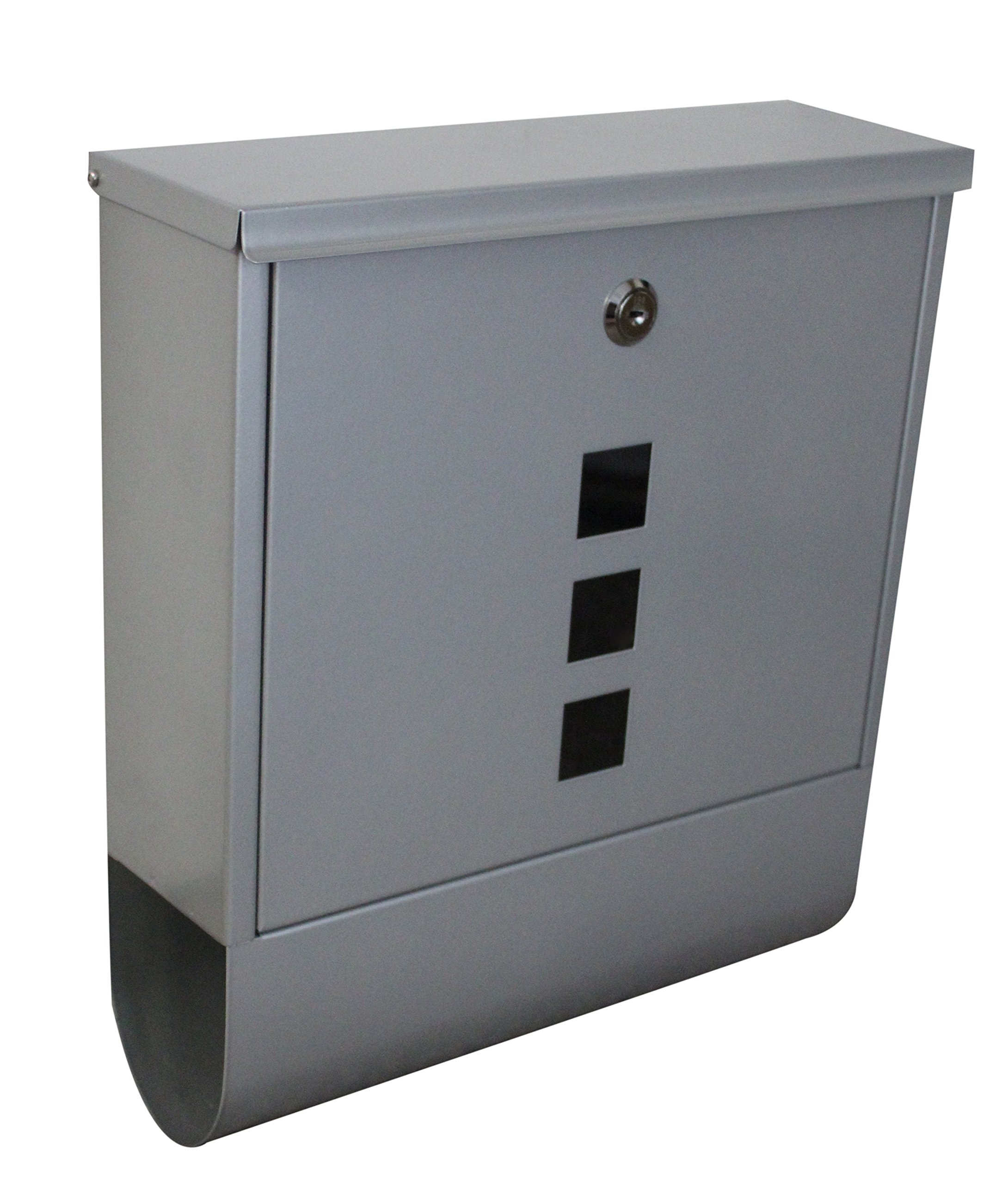 Locking Wall Mounted Mailbox - Silver Aluminum Locking Mail Box with Newspaper Slot - Residential/Commercial Security Mailbox