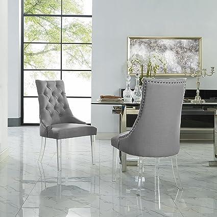 Amazoncom Marilyn Light Grey Dining Chair Linen Set Of 2