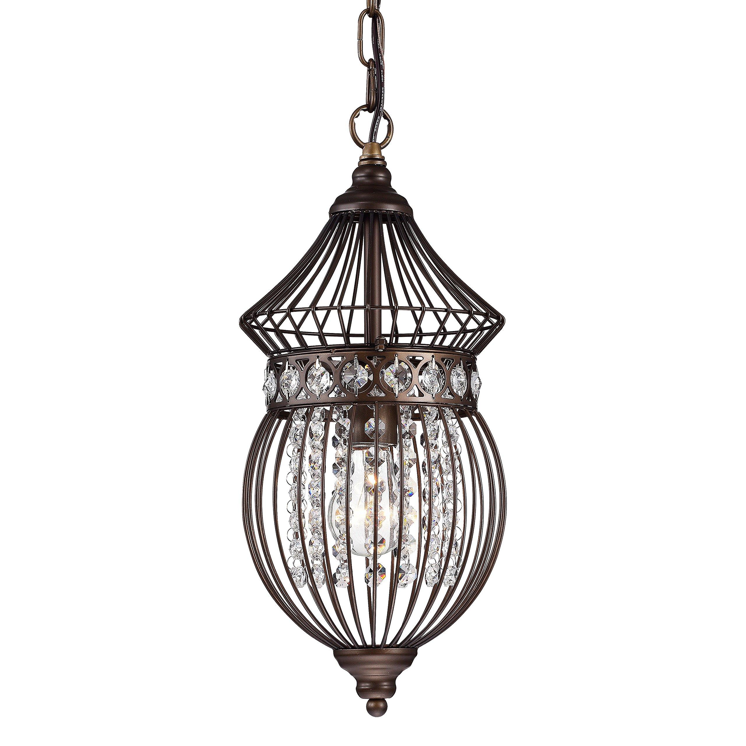 Crystal Bird Cage Chandelier Lighting Bronze Iron Chandelier Ceiling Light Fixture 1 Light 17045 by Go&So