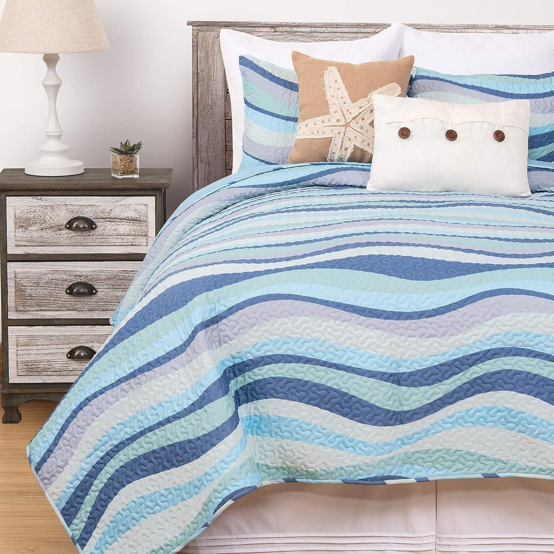 C&F Home Sea Waves Seawaves Blue Ocean Coastal Full/Queen 3 Piece Beach Reversible Coverlet Quilt Set with 2 Standard Shams Full/Queen 3 Piece Set Blue