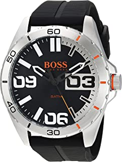 927b33f16 Hugo Boss Orange Berlin Black Dial Silicone Strap Men's Watch 1513285