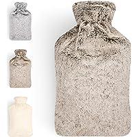 Blumtal Warmwaterkruik met zachte hoes, kruik van 1,8 liter, bedkruik voor kinderen, in diverse kleuren bruin