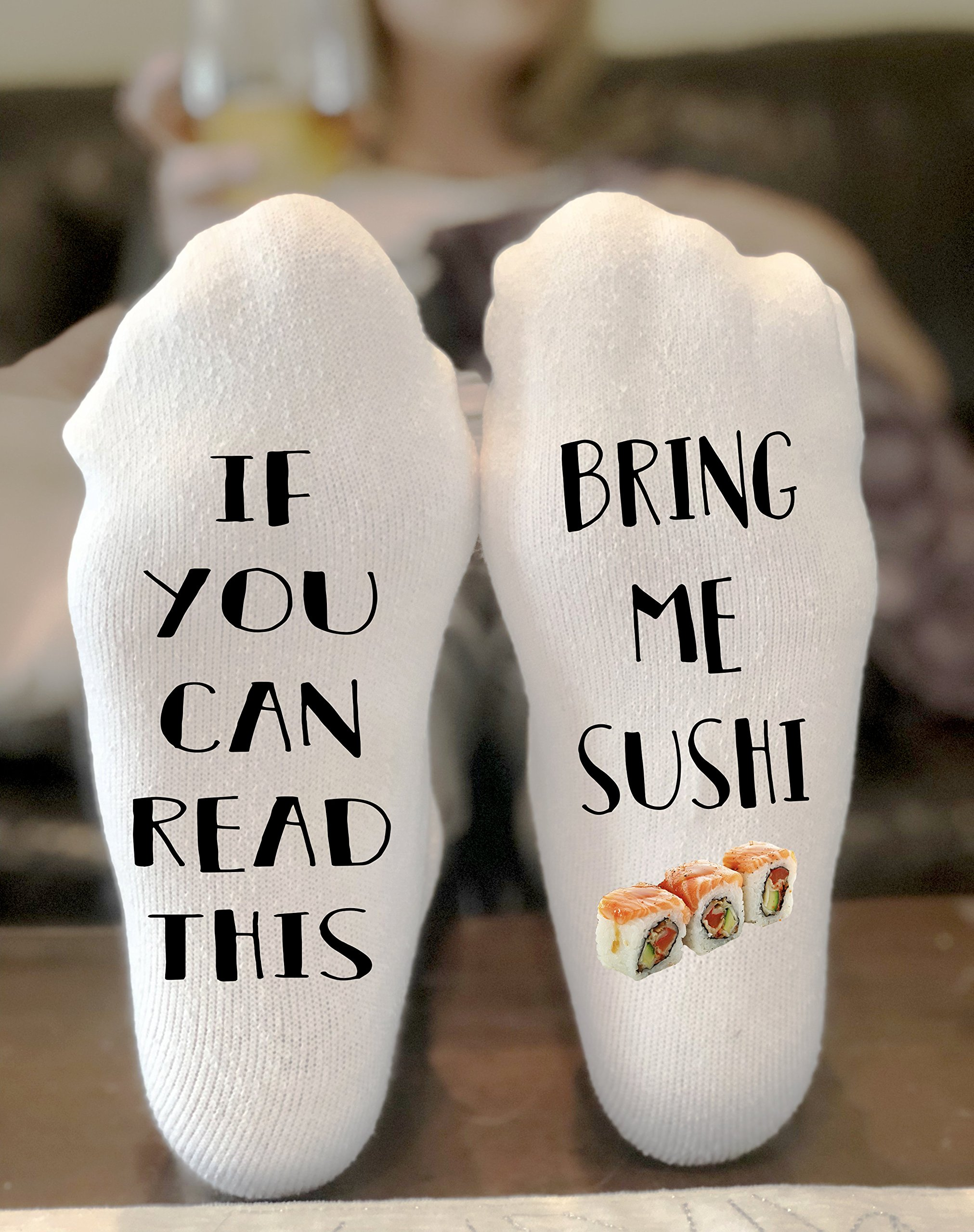 If You Can Read This Bring Me Sushi Novelty Funky Crew Socks Men Women Christmas Gifts Cotton Slipper Socks