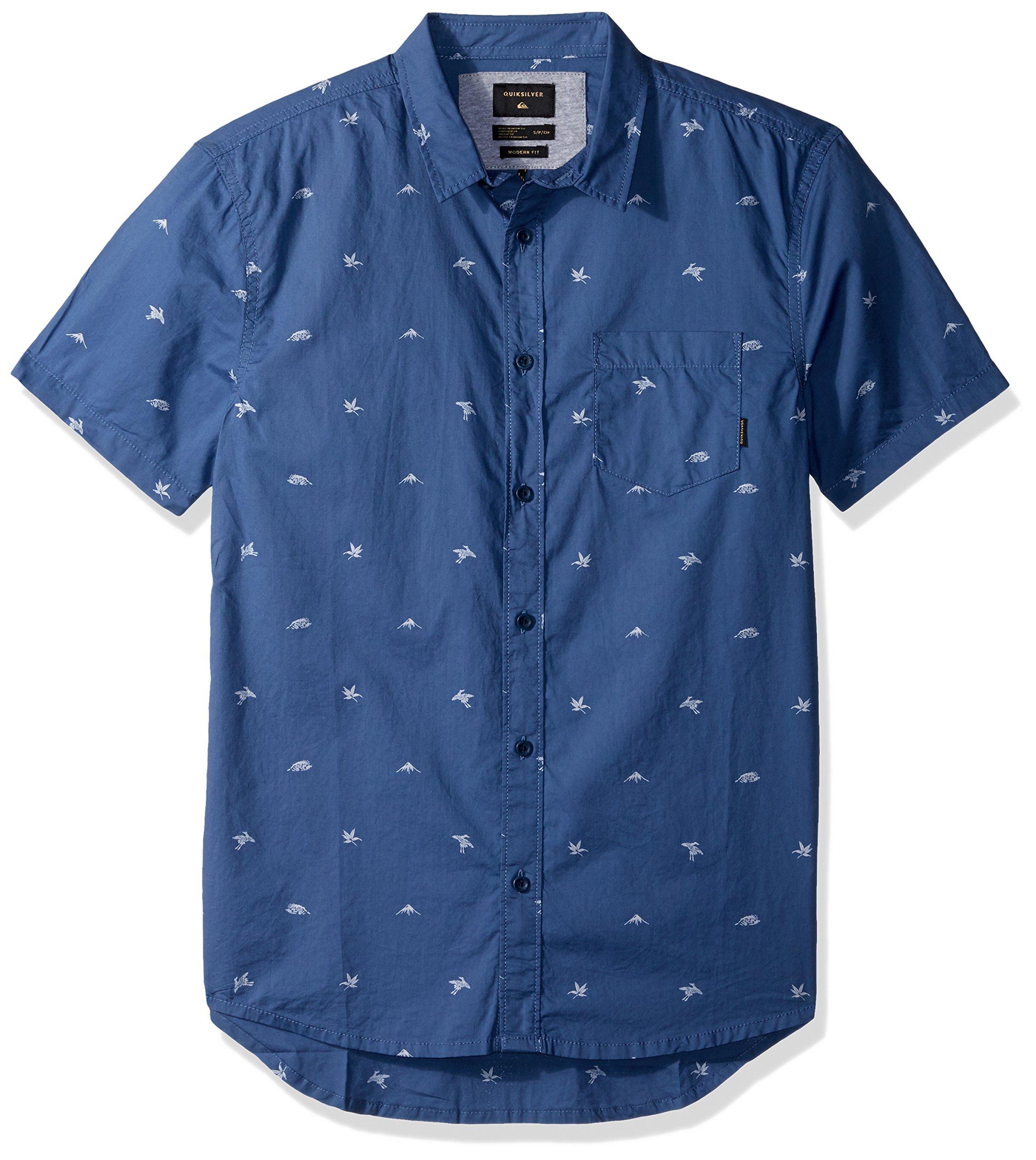 Quiksilver Men's Fuji Mini Motif Short Sleeve Button Down Shirt, Bijou Blue Fuji Mini Mo, XXL