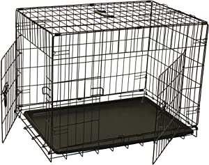 ALEKO SDC-2D-24B Folding Suitcase Dog Cat Crate Cage Kennel 24 x 17 x 19 Inches