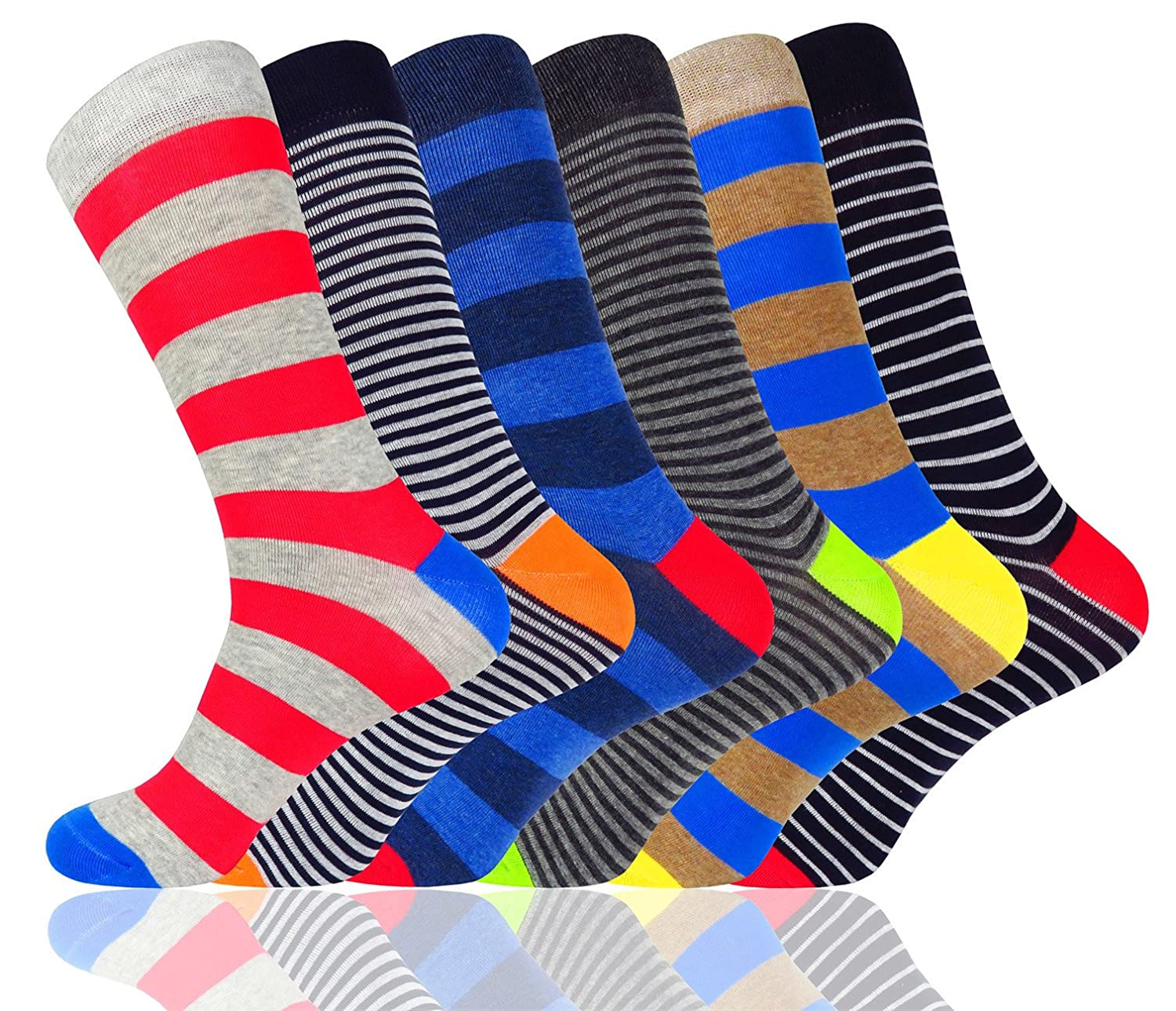 WEILAI Men's Novelty Funky Colorful Cool Dress Socks-Combed Cotton Casual Crew Socks