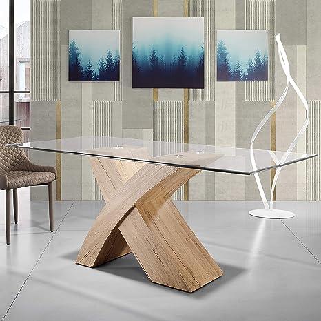 Mocada Raul Tavolo Fisso Design 160x90 Cristallo e Basamento Legno - Rovere  Naturale