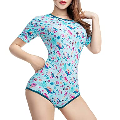 6686d9561d85 Amazon.com  TEN NIGHT Adult Baby Diaper Lover Onesie ABDL Women Pajamas  DDLG Snap Crotch Romper  Clothing
