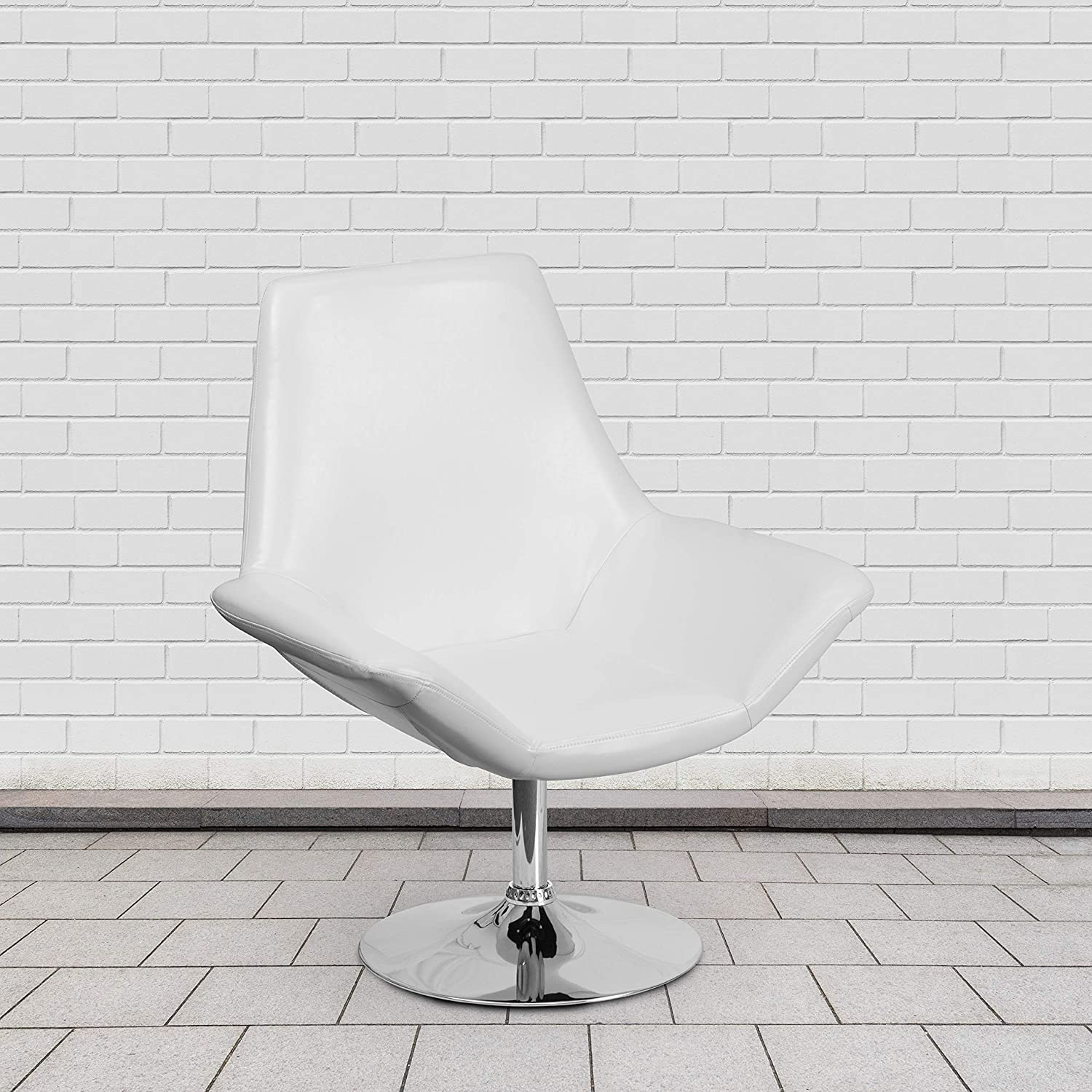 Flash Furniture White Leather Reception Chair
