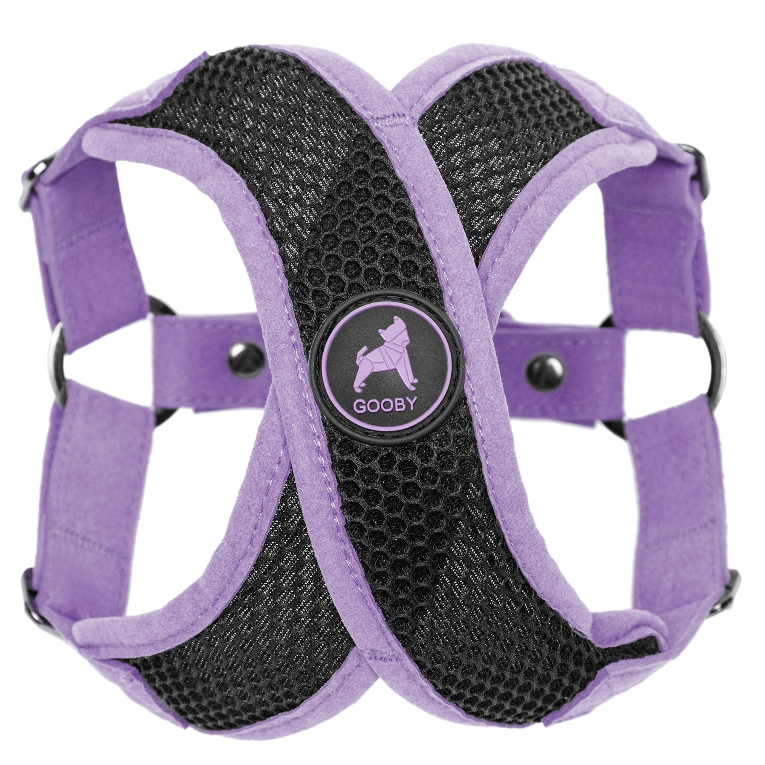Gooby - Active X Step-in Harness, Choke Free Small Dog Harness with Synthetic Lambskin Soft Strap, Purple, Medium
